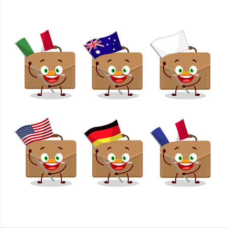Brown suitcase cartoon character bring the flags of various countries