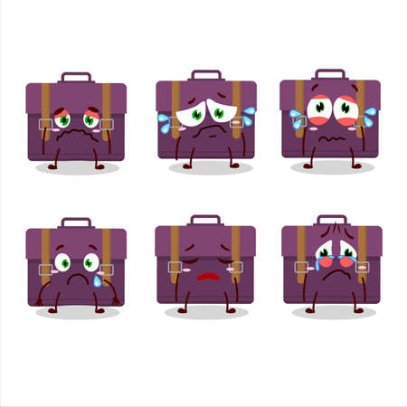 Purple suitcase cartoon character with sad expression
