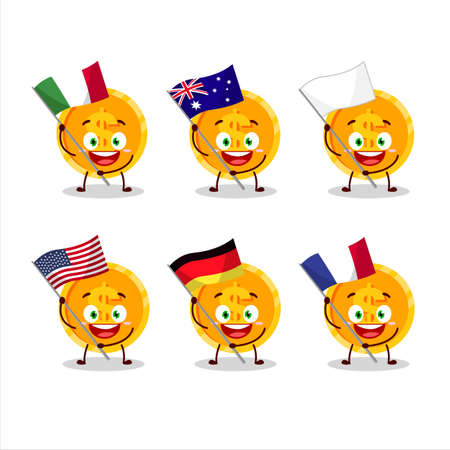 Coin cartoon character bring the flags of various countries 向量圖像