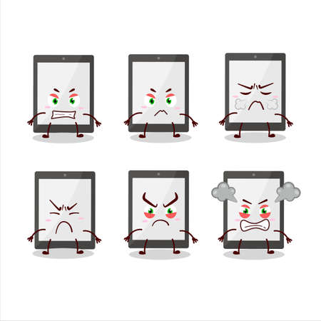 Tablet cartoon character with various angry expressions