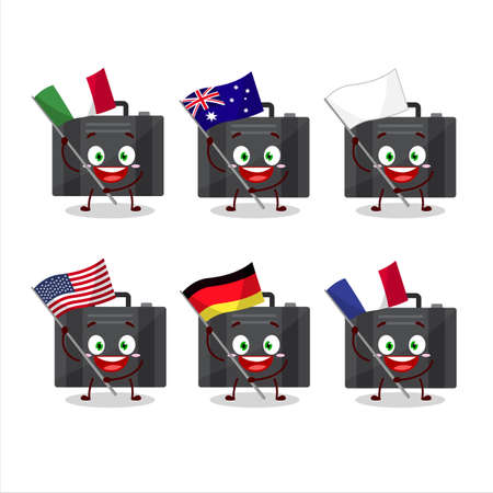 Black suitcase cartoon character bring the flags of various countries Vettoriali