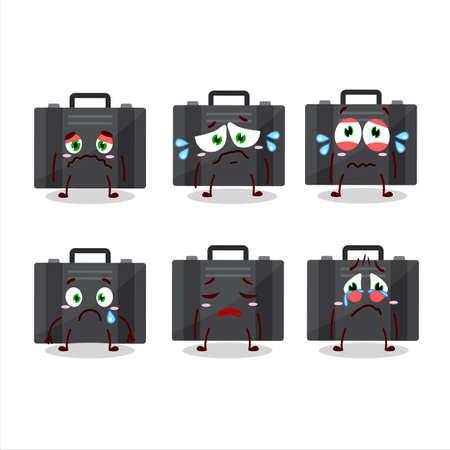 Black suitcase cartoon character with sad expression Vecteurs