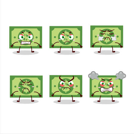 Money cartoon character with various angry expressions