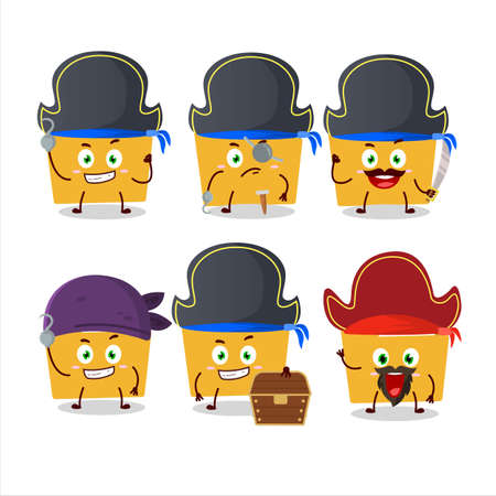 Cartoon character of file folder a with various pirates emoticons