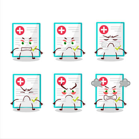 Medical payment cartoon character with various angry expressions