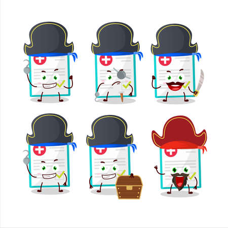 Cartoon character of medical payment with various pirates emoticons