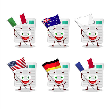 newspaper cartoon character bring the flags of various countries