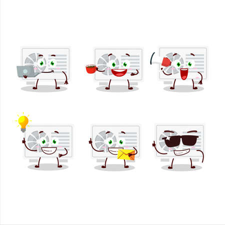 Air conditioner outdoor cartoon character with various types of business emoticons