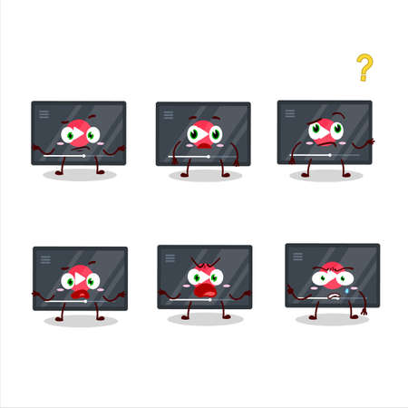 Cartoon character of video play button with what expression