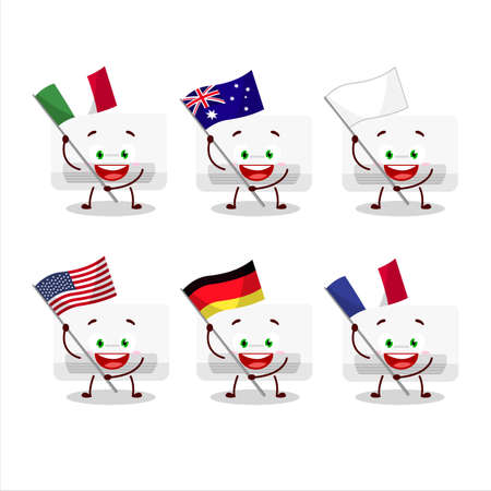 Air conditioner cartoon character bring the flags of various countries
