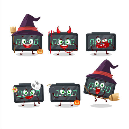 Halloween expression emoticons with cartoon character of digital alarm clock Illustration