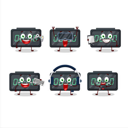 Digital alarm clock cartoon character are playing games with various cute emoticons
