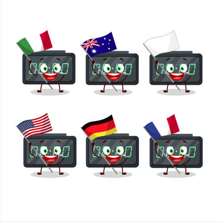 Digital alarm clock cartoon character bring the flags of various countries