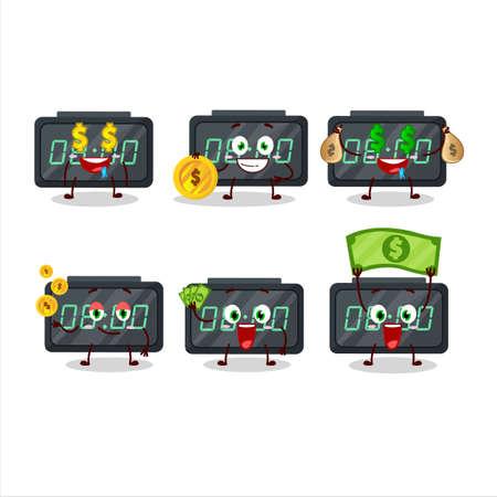 Digital alarm clock cartoon character with cute emoticon bring money