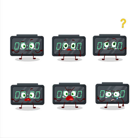 Cartoon character of digital alarm clock with what expression