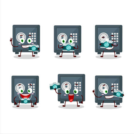 Photographer profession emoticon with safe deposit box cartoon character