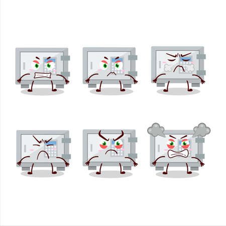 Digital safe box cartoon character with various angry expressions Illustration