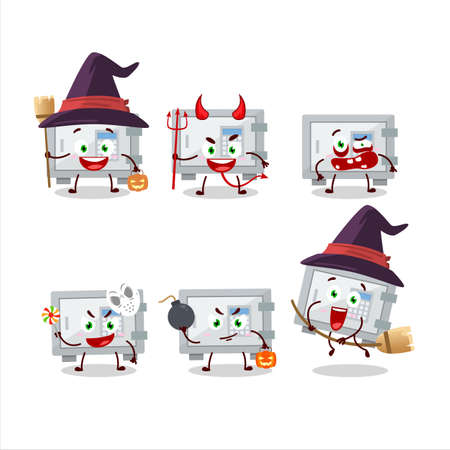 Halloween expression emoticons with cartoon character of digital safe box