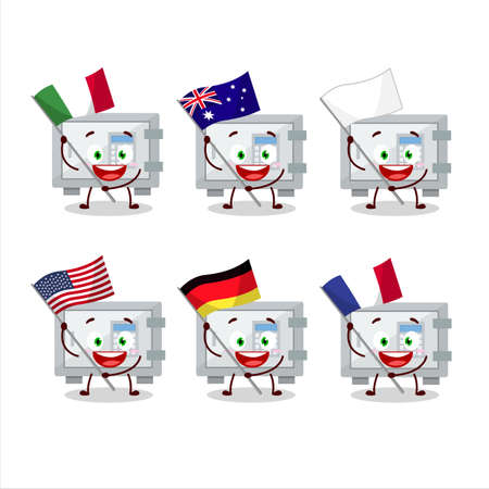Digital safe box cartoon character bring the flags of various countries