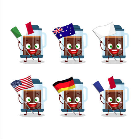 French press cartoon character bring the flags of various countries Vettoriali