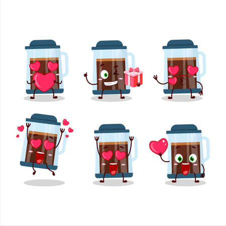 French press cartoon character with love cute emoticon