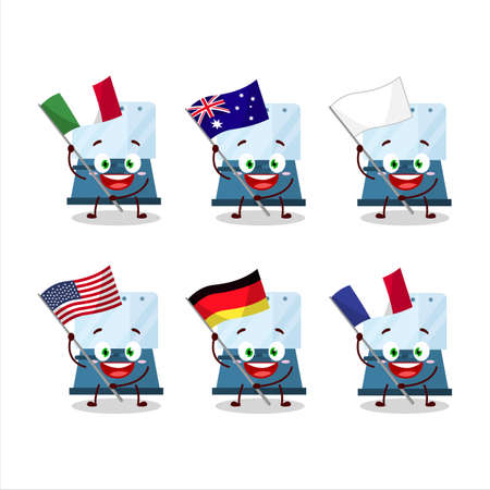 Automatic espresso coffee cartoon character bring the flags of various countries