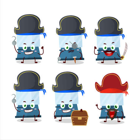 Cartoon character of automatic espresso coffee with various pirates emoticons