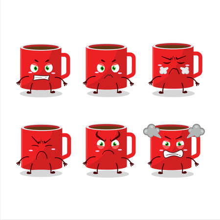 Glass of coffee cartoon character with various angry expressions