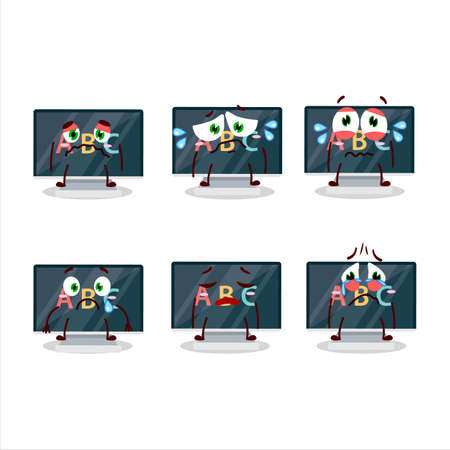 Alphabet on monitor cartoon character with sad expression