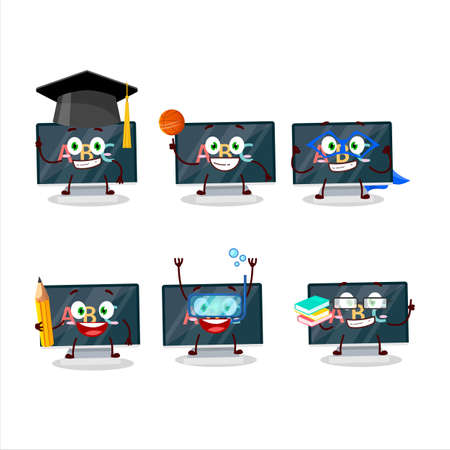 School student of alphabet on monitor cartoon character with various expressions