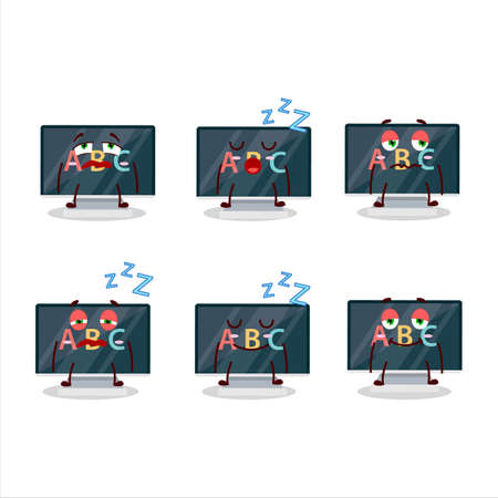 Cartoon character of alphabet on monitor with sleepy expression