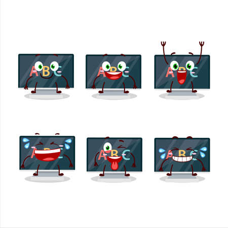 Cartoon character of alphabet on monitor with smile expression Çizim