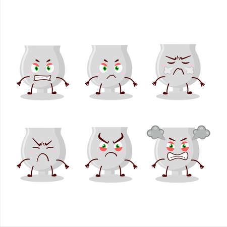 Silver trophy cartoon character with various angry expressions