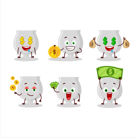 Silver trophy cartoon character with cute emoticon bring money