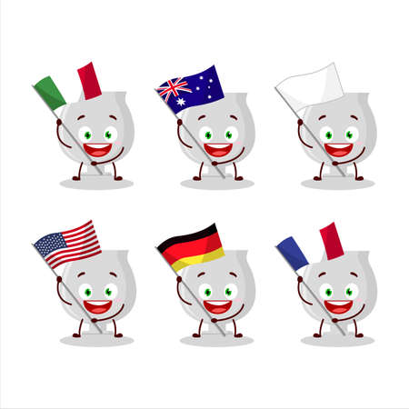 Silver trophy cartoon character bring the flags of various countries