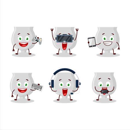 Silver trophy cartoon character are playing games with various cute emoticons