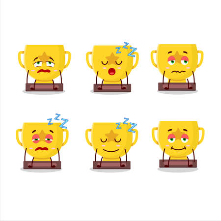Cartoon character of gold trophy with sleepy expression
