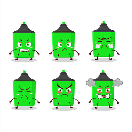 New green highlighter cartoon character with various angry expressions