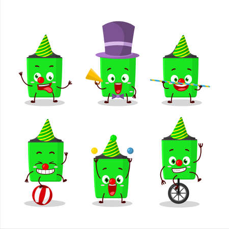 Cartoon character of new green highlighter with various circus shows