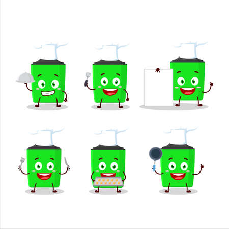 Cartoon character of new green highlighter with various chef emoticons Çizim