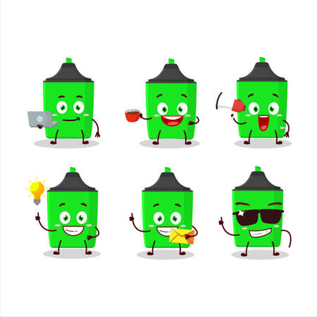 New green highlighter cartoon character with various types of business emoticons Çizim