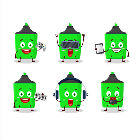 New green highlighter cartoon character are playing games with various cute emoticons