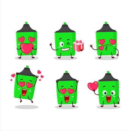 New green highlighter cartoon character with love cute emoticon Çizim