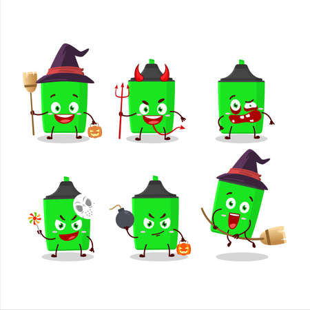 Halloween expression emoticons with cartoon character of new green highlighter