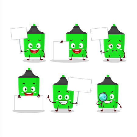 New green highlighter cartoon character bring information board