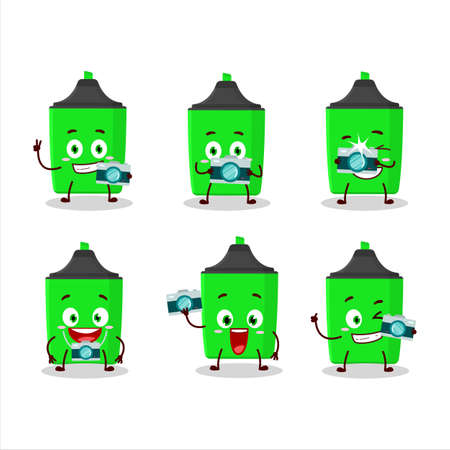 Photographer profession emoticon with new green highlighter cartoon character Çizim