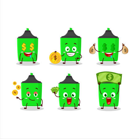 New green highlighter cartoon character with cute emoticon bring money