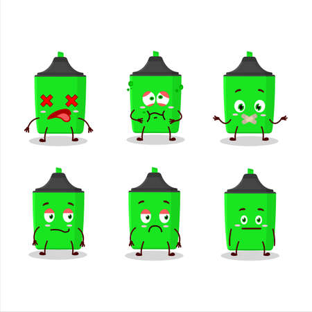 New green highlighter cartoon character with nope expression Çizim