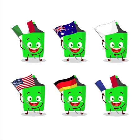 New green highlighter cartoon character bring the flags of various countries
