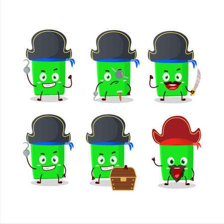 Cartoon character of new green highlighter with various pirates emoticons